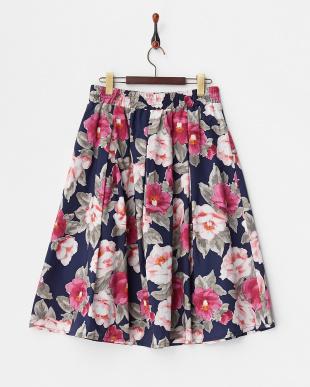 ネイビー  フラワープリントフレアスカート見る