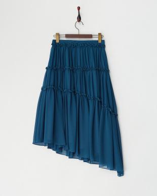 ブルー系 FLOATY CHIFFONアシンメトリースカート見る