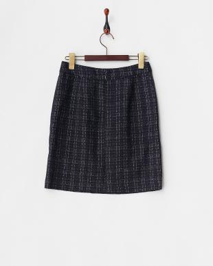 ネイビー  ラメチェックブークレツイードタイトスカート見る