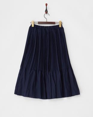 ネイビー  消しプリーツスカート見る