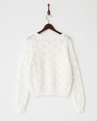 ホワイト  DOLCETTO 透かし柄編みニットプルオーバー見る