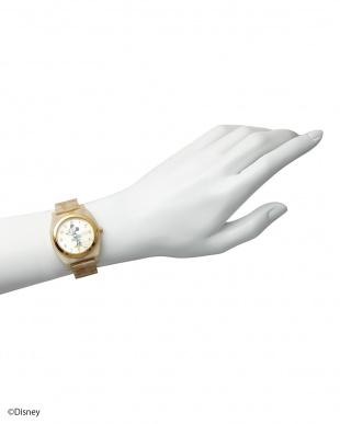 ゴールド×アイボリーベルト ミニーマウス時計|UNISEX見る