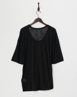 black COROSION LINEN ワイド袖Tシャツ見る