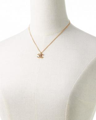 ゴールド ストーン調装飾ココマークネックレス見る