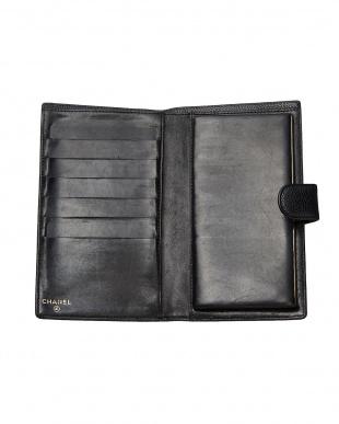 ブラック スナップボタン留めベルト財布見る
