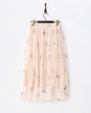 ピンク  刺繍チュールスカート見る