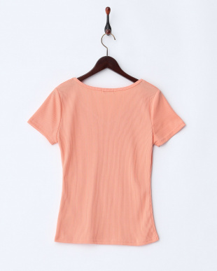 オレンジ  ビジュー付ネック半袖Tシャツ見る