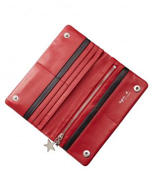 レッド  RW05b-02 刺繍ロゴ二つ折り長財布見る