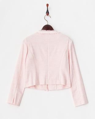 ピンク×ホワイト ラメ混ツイードノーカラージャケット見る