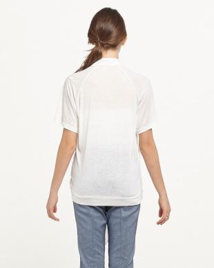ホワイト 重ね着風デザイン衿付き天竺プルオーバー見る