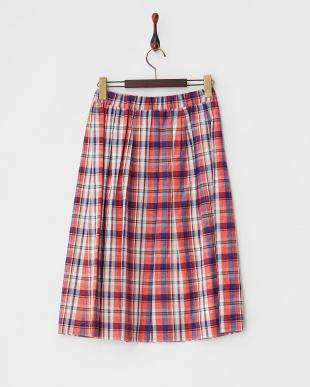 レッド コットンリネンチェックギャザースカート見る