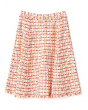 ピンク  LINTON フリンジフレアスカート見る