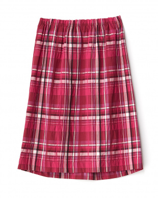 チェリーピンク ウエストリボンチェック柄スカート見る