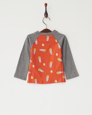 オレンジ  ポップコーン長袖シャツ見る