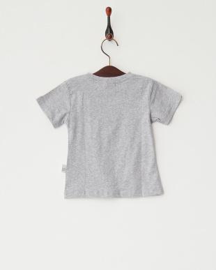 グレー  猫プリントTシャツ見る