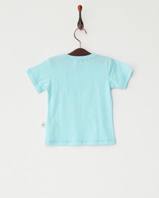 ブルー  猫プリントTシャツ見る