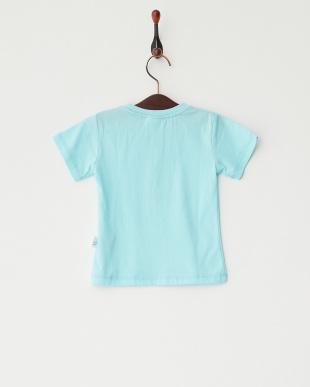 ブルー  グラデーション猫プリントTシャツ見る