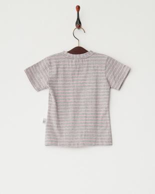 グレー×ピンク  ボーダー猫Tシャツ見る