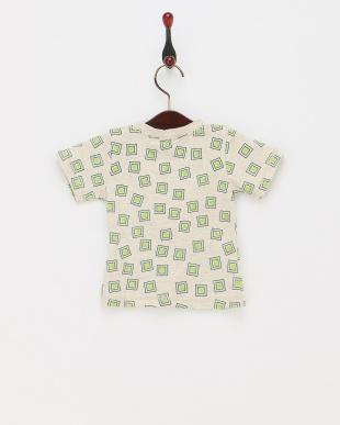 グリーン  あられ風スクエア柄Tシャツ見る