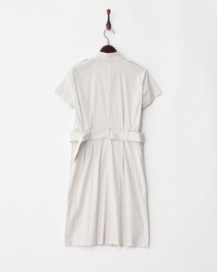 グレージュ×ホワイト リネン混コードレーントレンチ ワンピース(インナードレス付き)見る