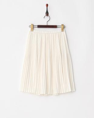 オフホワイト クリスタルプリーツスカート見る