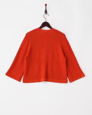 オレンジ 綿混透かし編み柄 ニットカーディガン見る