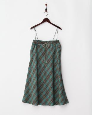 ブルーグリーン系 (総丈85cm)イタリア製生地 リネン2WAYスカート見る