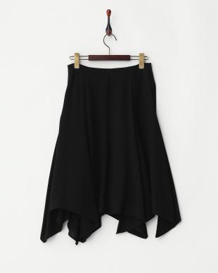 ブラック  イレギュラーヘム フレアースカート見る