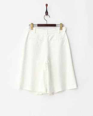 オフホワイト  リネン混 ドビーキュロットスカート見る