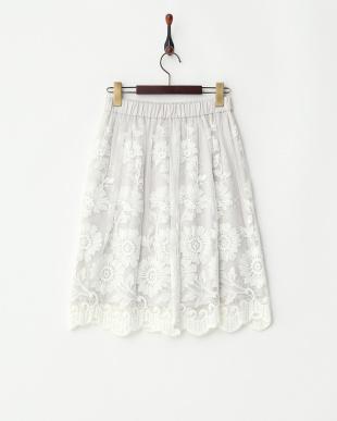 オフホワイト系  フラワー刺しゅう チュールレースギャザースカート見る