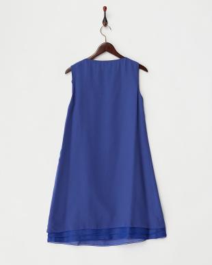 ブルー フリル装飾裾段切り替えスカート見る