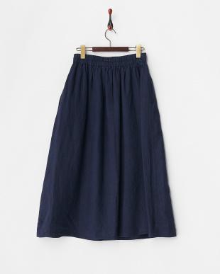 ネイビー  フレンチリネンギャザースカート見る
