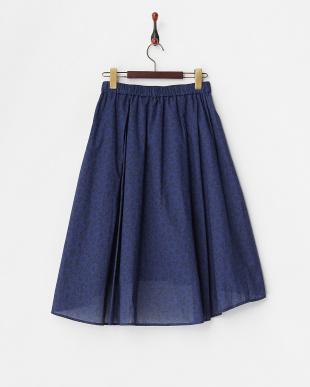 ブルー  フラワープリントイレヘムスカート見る
