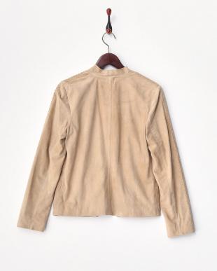 ベージュ  袖編み込みレザージャケット見る