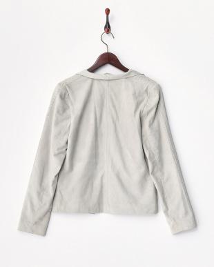 ライトグレー  袖編み込みレザージャケット見る