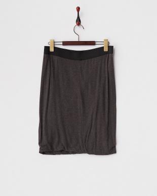 ダークブラウン  メランジカットソータイトバルーンスカート見る