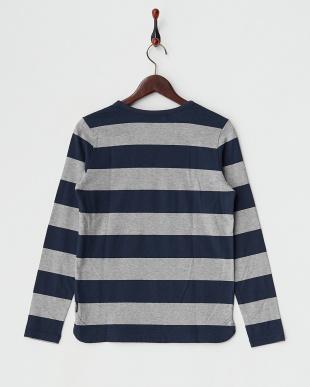 グレー×ネイビー ワイドボーダーコットンロングTシャツ見る