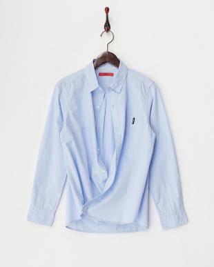 サックスブルー  2WAYコットンカシュクールシャツ見る