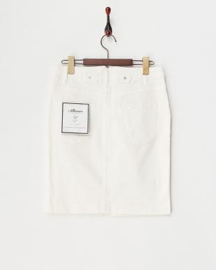 ホワイト  カラーデニムスカート見る