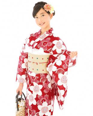 レッド系 大輪桜 スクール浴衣+造り帯+下駄|GIRL見る