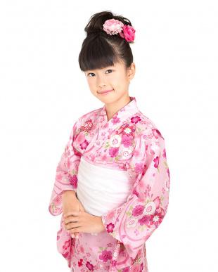 ピンク系 流水×桜×毬×金魚 キッズ 浴衣+兵児帯見る