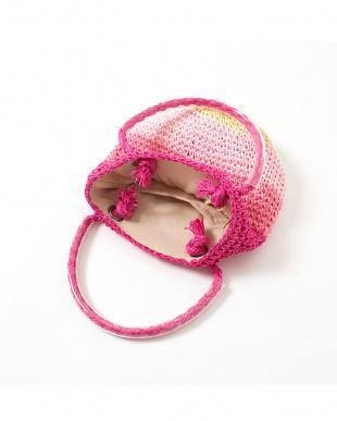 ピンク系  配色ボーダー 子供用サマーバッグ見る
