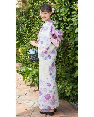 クリーム系 プチゴージャス 桜×マリ 浴衣+造り帯+下駄|WOMEN見る