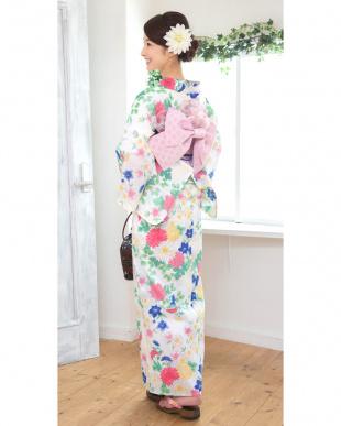 ホワイト系 特別企画 菊×桜 浴衣+造り帯+下駄|WOMEN見る