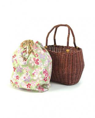 ブラウン/グリーン桜  かごバッグ|WOMEN見る