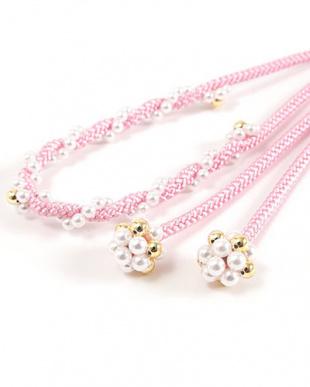 ピンク  パールビーズ付き飾り紐|WOMEN見る