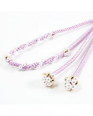 パープル  パールビーズ付き太糸飾り紐|WOMEN見る