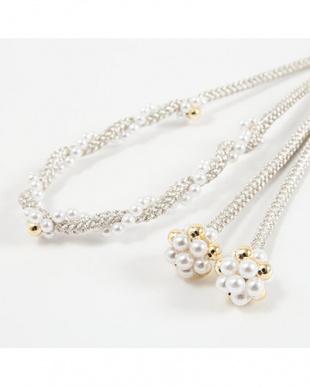 ホワイト  パールビーズ付き太糸飾り紐|WOMEN見る