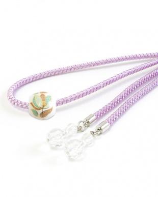 パープル リーフA トンボ玉付き飾り紐|WOMEN見る