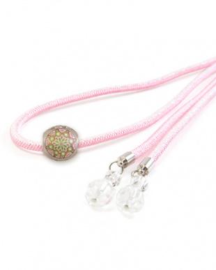 ピンク モダン柄 トンボ玉付き飾り紐 1|WOMEN見る